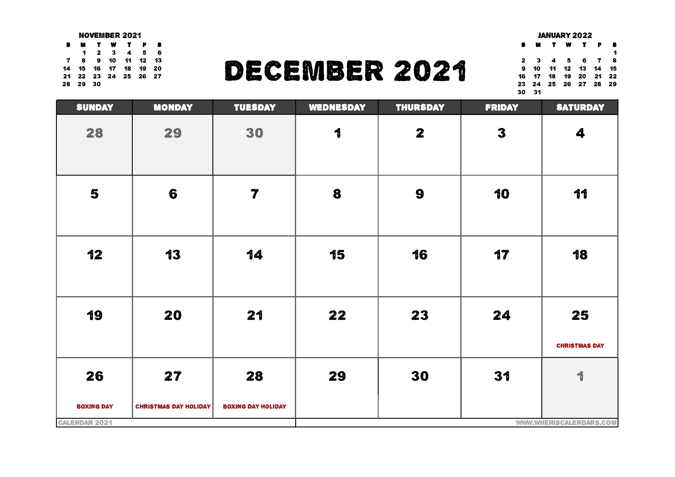 Free December 2021 Calendar Australia Printable 12 Templates - Free 2020 And 2021 Calendar intended for 2021 Australia Calendar With Holidays Photo