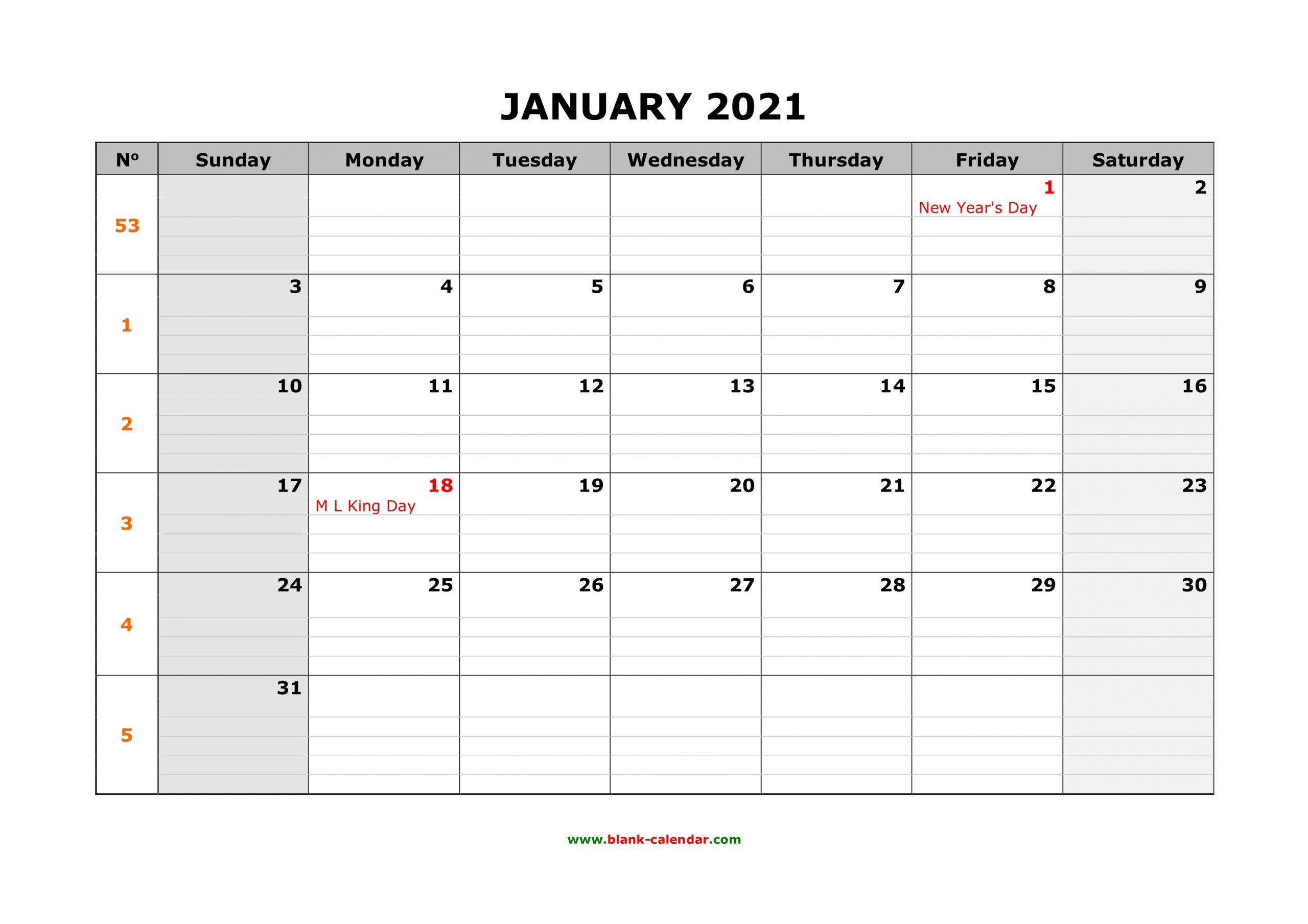 Free Download Printable Calendar 2021, Large Box Grid, Space For Notes within Free Printable Calendar 2021 Graphics