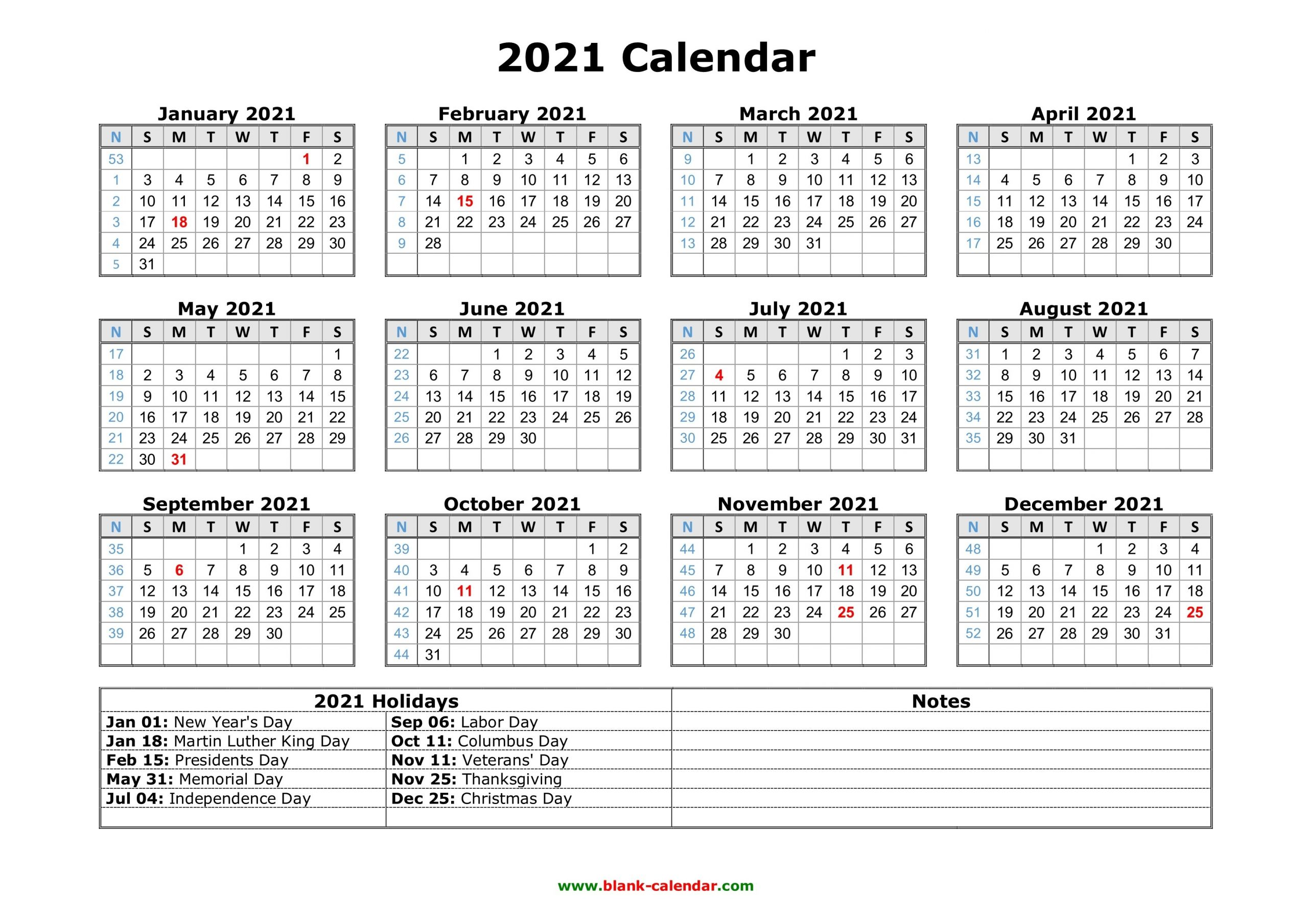 Free Download Printable Calendar 2021 With Us Federal Holidays, One Page, Horizontal. for 2021 Calendar With Date Boxes Photo