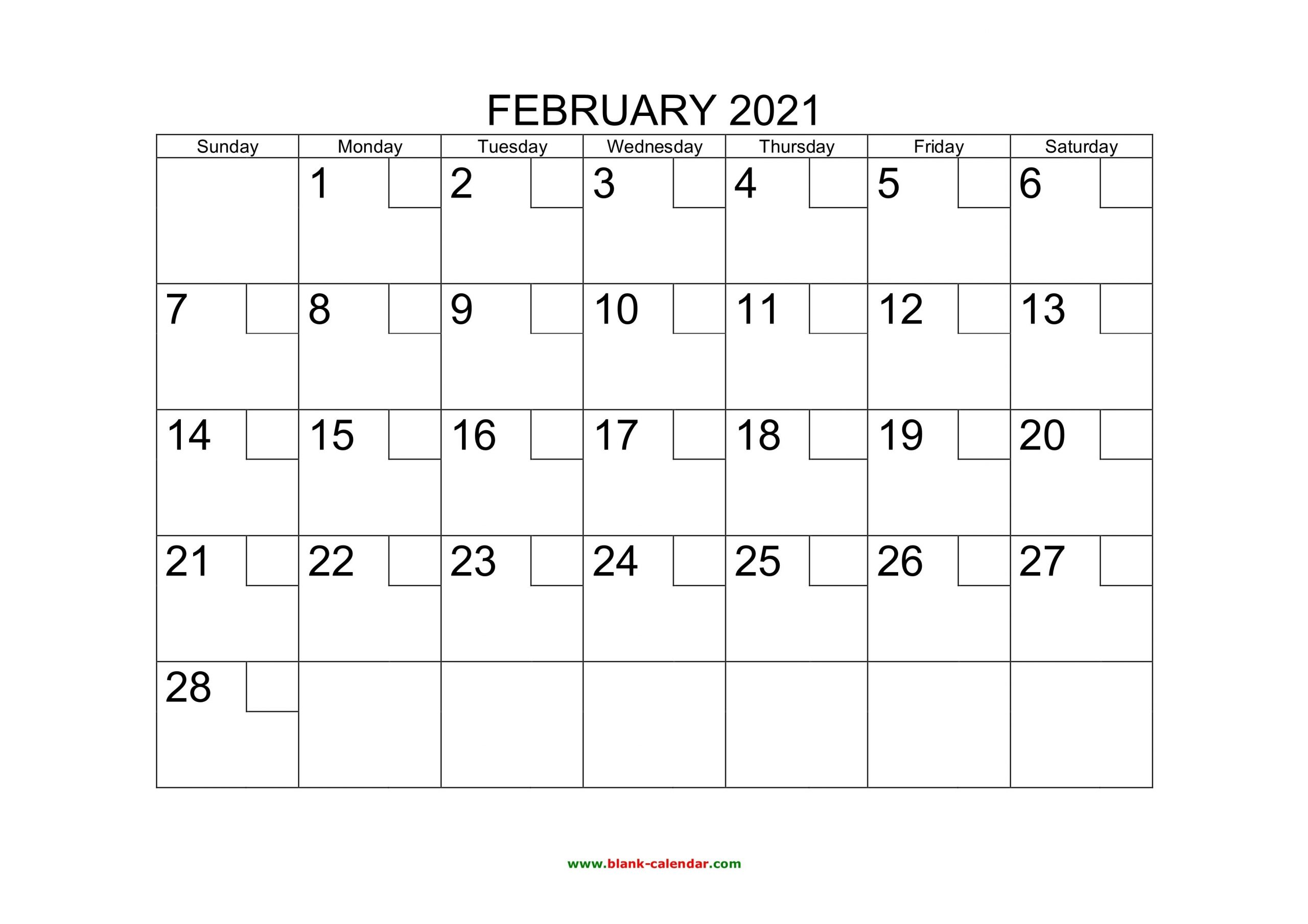 Free Download Printable February 2021 Calendar With Check Boxes for 2021 Calendar With Date Boxes Photo
