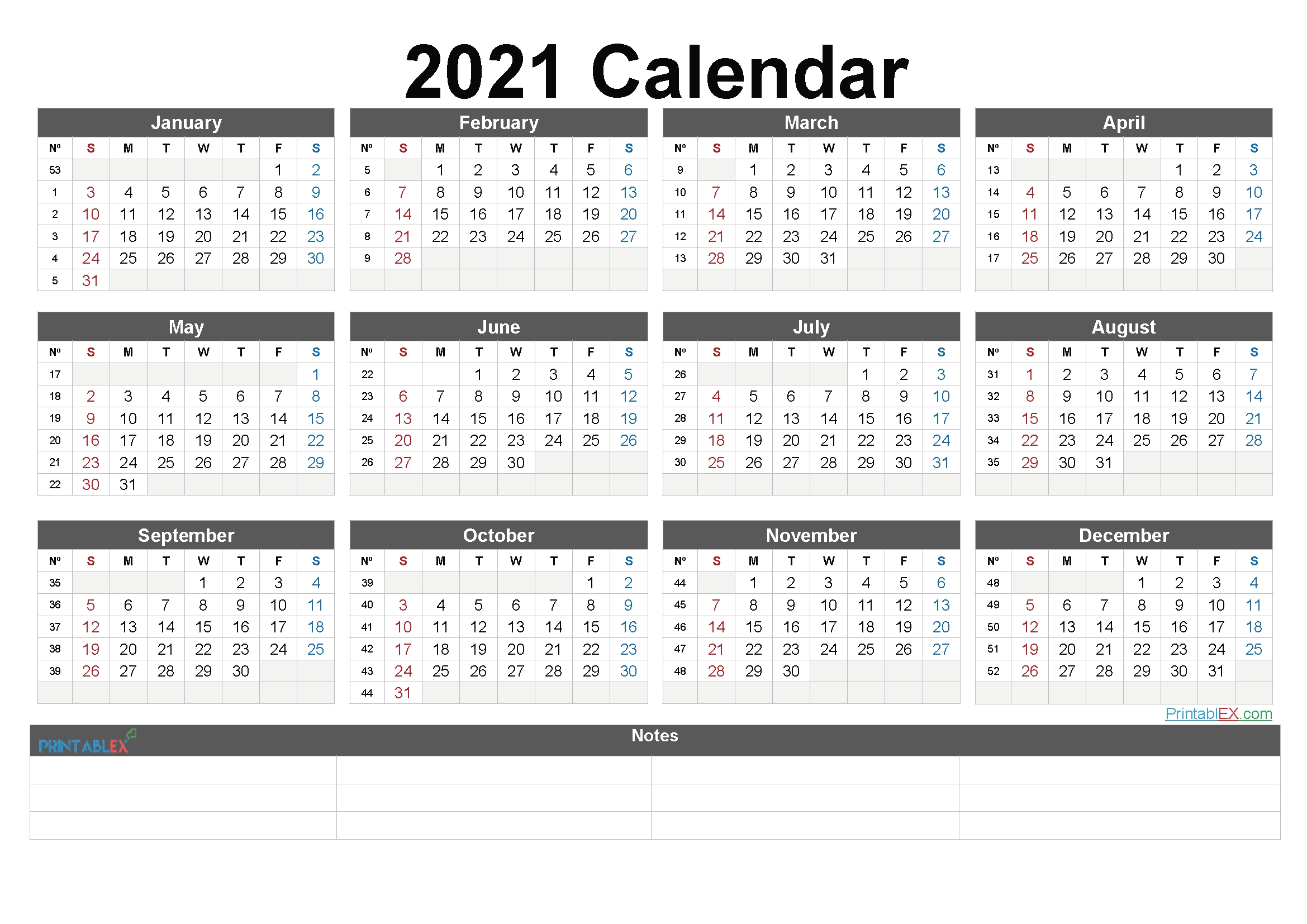 Free Downloadable 2021 Word Calendar - Blank Calendar 2021 Free Download Calendar Templates with Calendar For Year 2021 With Weeks Numbered Graphics