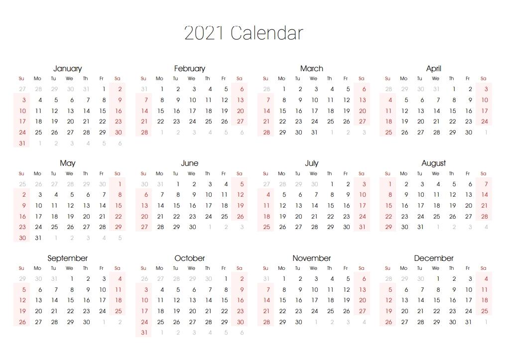 Free Editable 2021 Calendar Printable Template in Calendar 2019 2021 2021 Printable Free