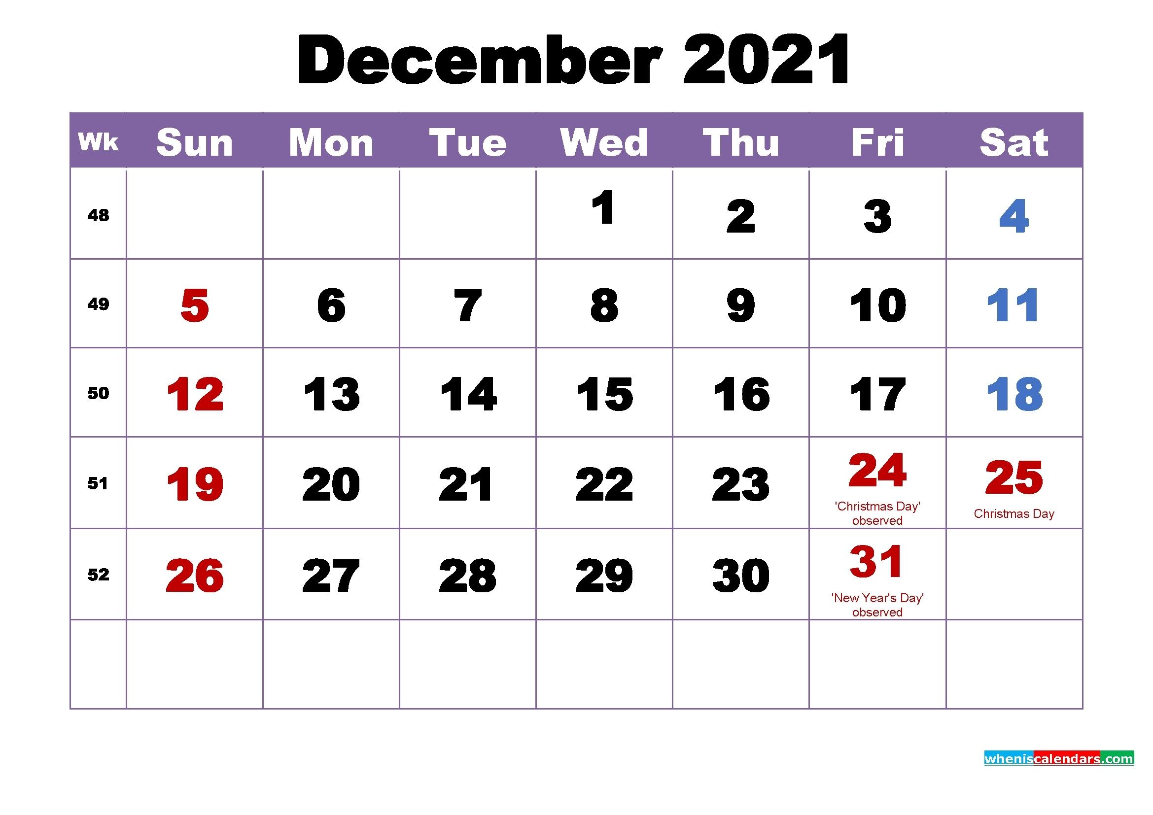 Free Editable December 2021 Calendar | Month Calendar Printable for Free Printable Calendars 2021 Monthly
