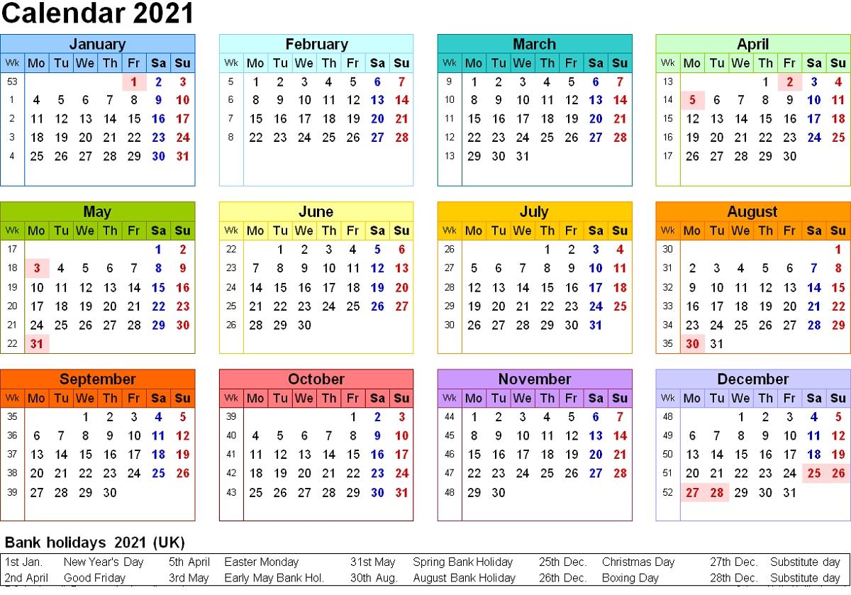 Free Editable Weekly 2021 Calendar - 2019 - 2021 Editable Calendar (30 Months) - Pdf Version for Printable 2021 Monthly Calendar Template Image