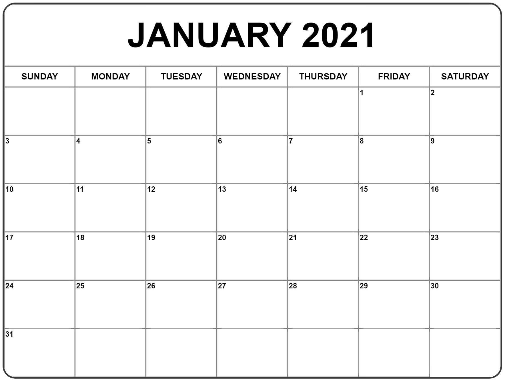 Free January 2021 Calendar Printable Blank Templates pertaining to Print Calendar 2021 Monthly Free Photo