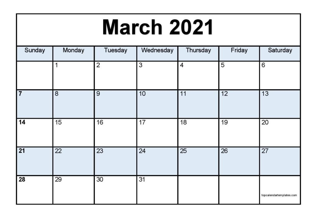 Free March 2021 Calendar Printable - Blank Templates within Free Printable Calendar 2021 Daily