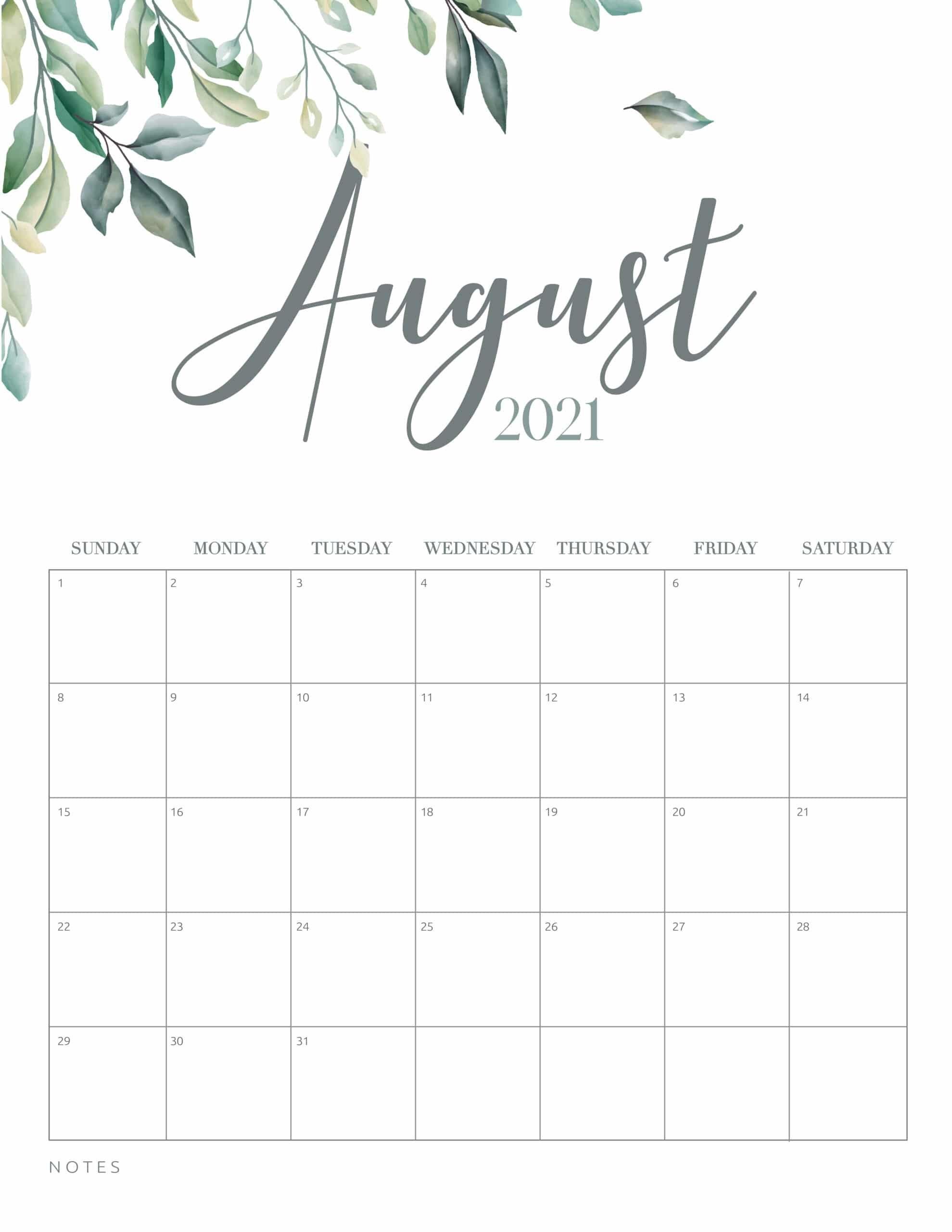 Free Printable 2021 Calendar Botanical Style - World Of Printables within Free Printable Calendar 2021