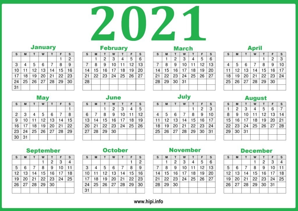 Free Printable 2021 Calendar, Pink And Green - Hipi pertaining to One Page 2021 Calendar Printable Images Graphics