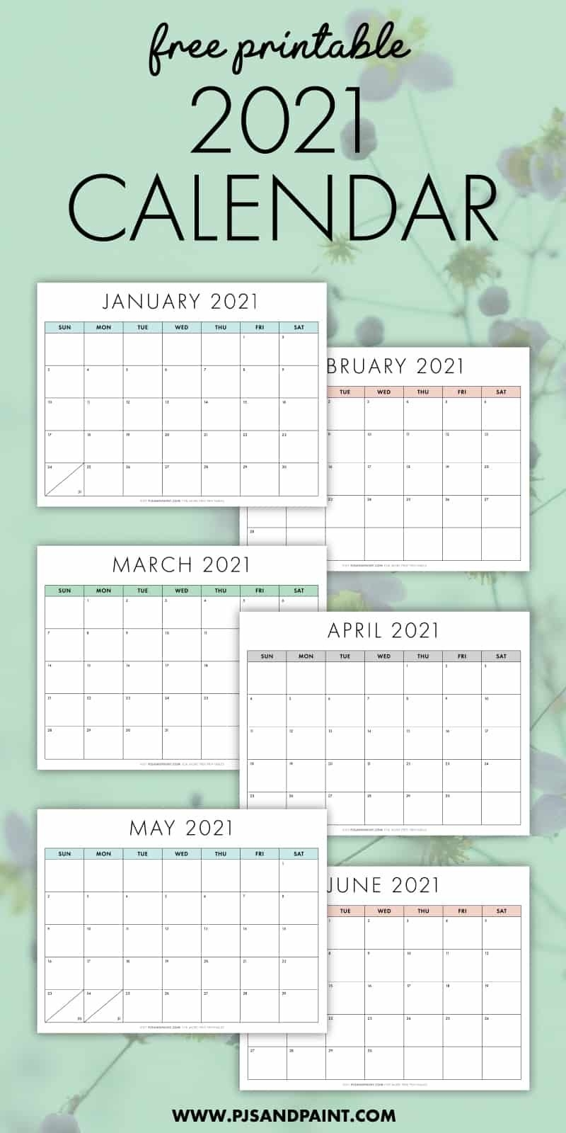 Free Printable 2021 Calendar - Sunday Start - Pjs And Paint inside Free Calendar Template 2021 Printable With Lines Image