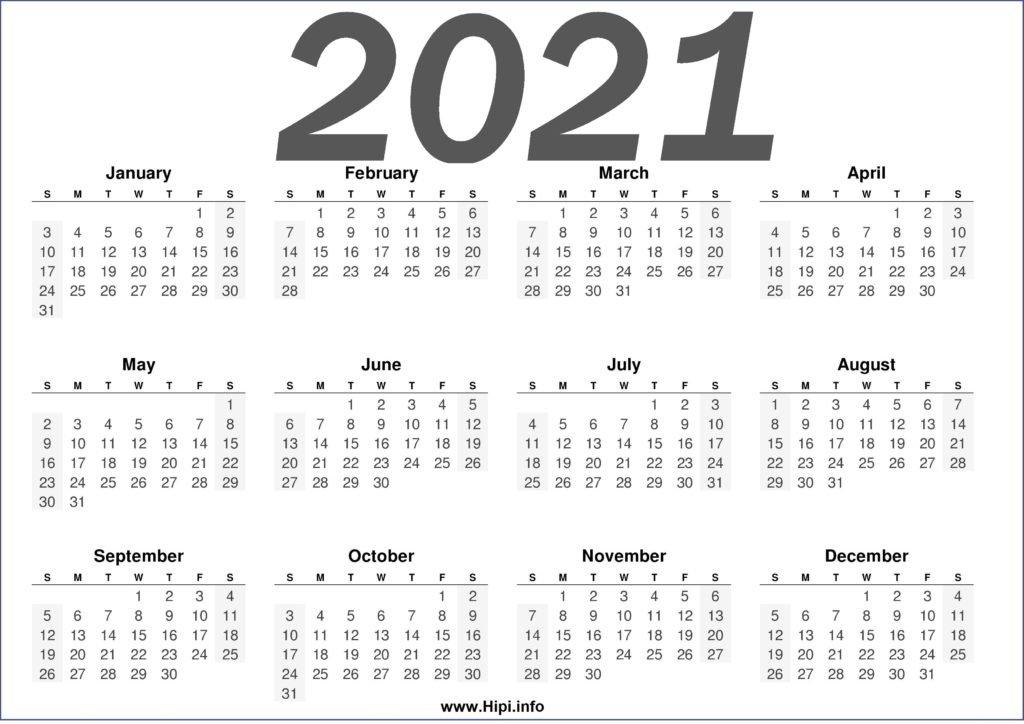 Free Printable 2021 Calendars Horizontal - Hipi pertaining to Free Printable Calendar 2021 Graphics