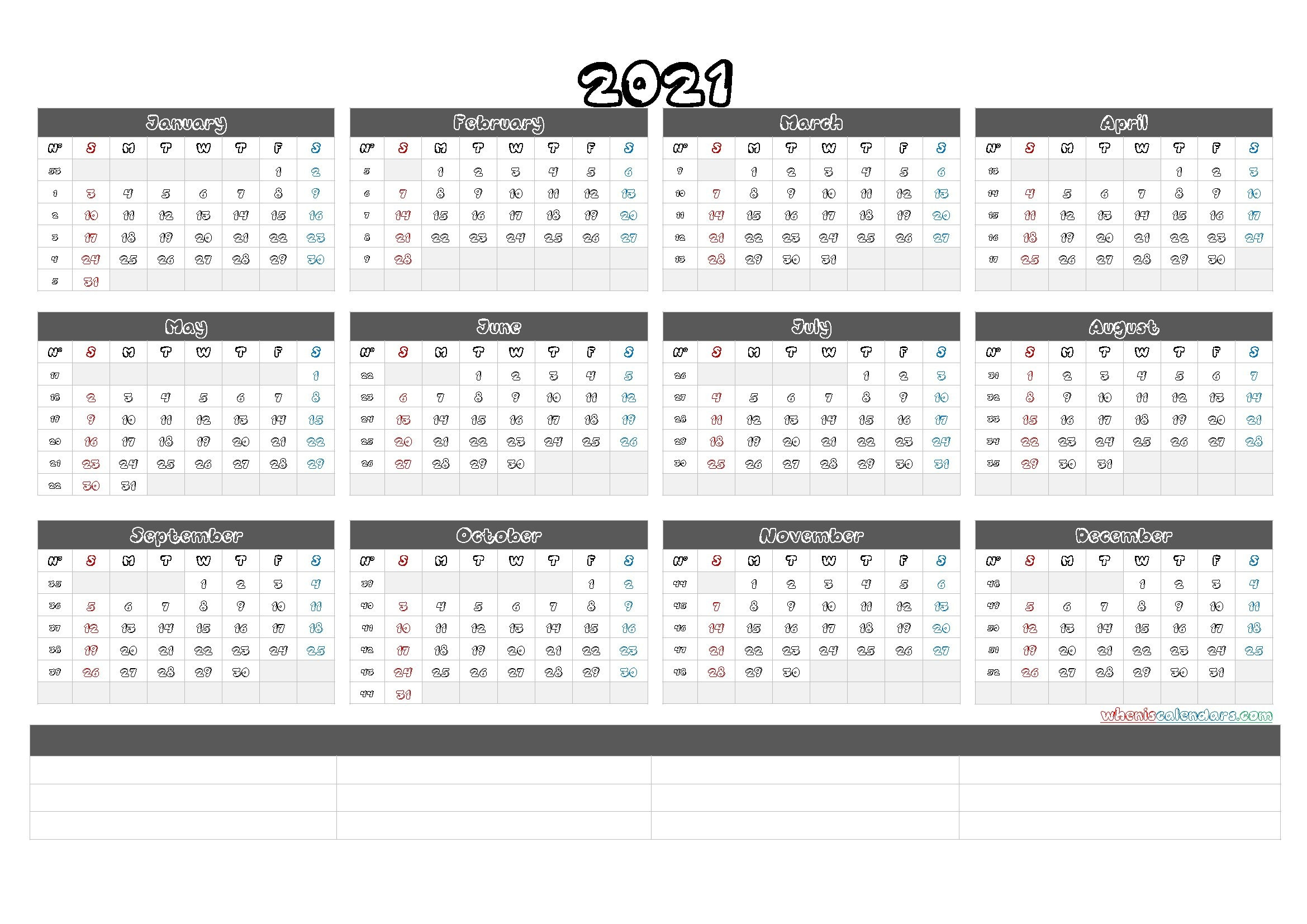 Free Printable 2021 Yearly Calendar With Week Numbers (6 Templates) - Free Printable 2020 within Calendar With Numbered Days 2021