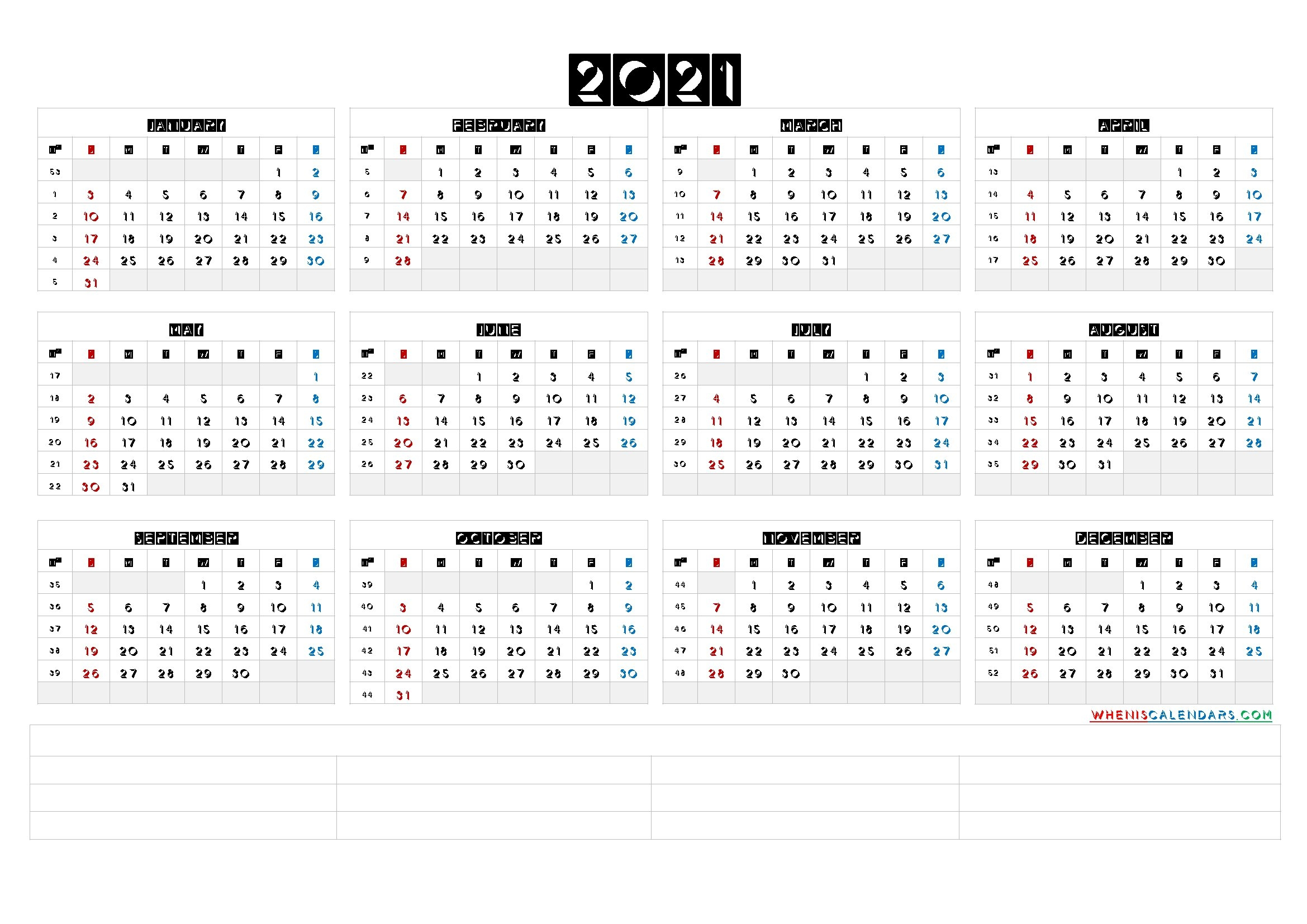 Free Printable 2021 Yearly Calendar With Week Numbers (6 Templates) inside Calendar For Year 2021 With Weeks Numbered