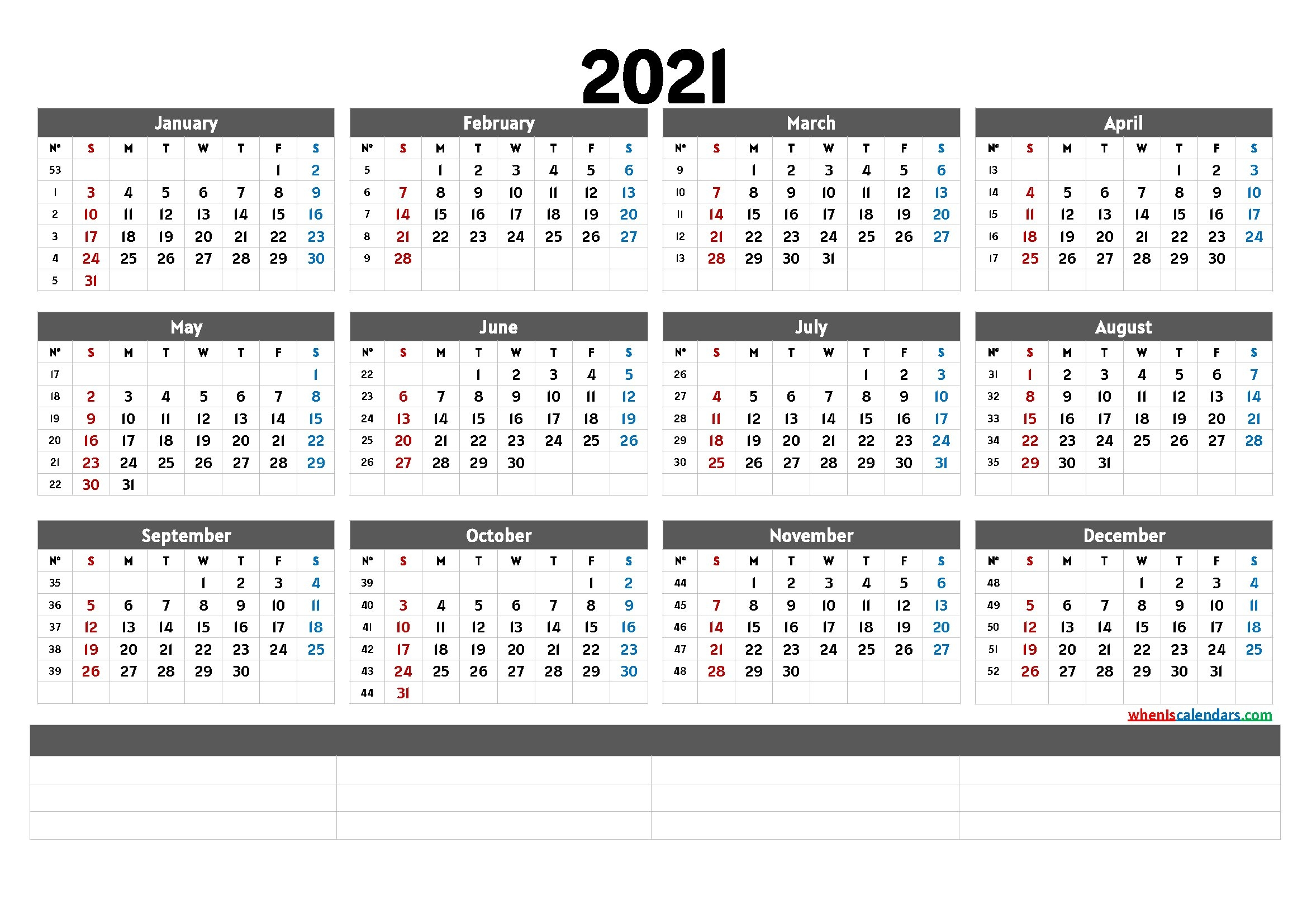 Free Printable 2021 Yearly Calendar With Week Numbers (6 Templates) pertaining to Calendar For Year 2021 With Weeks Numbered