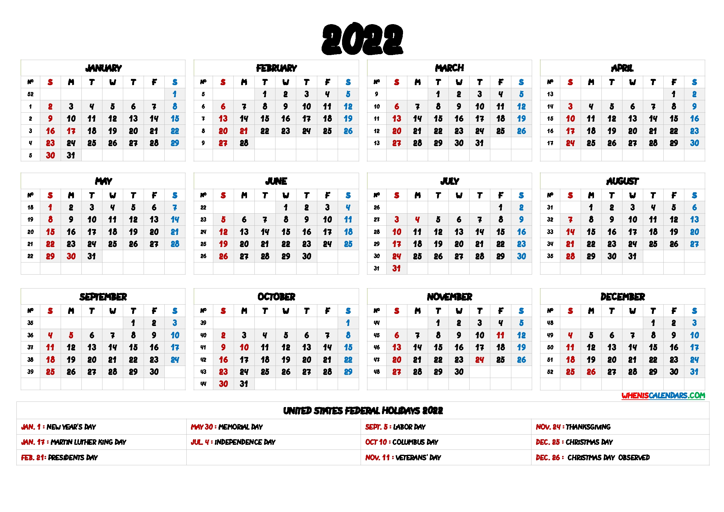 Free Printable 2022 Yearly Calendar With Holidays - 9 Templates inside 2021 2022 Calendar Printable One Page