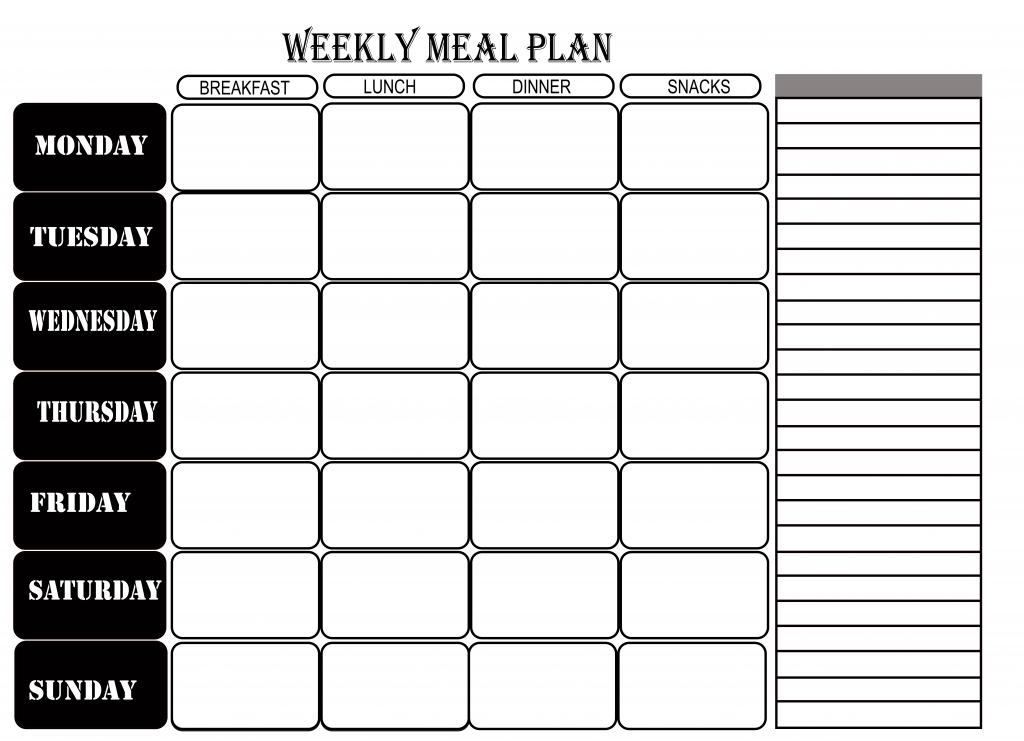 Free Printable Blank Weekly Meal Planner [Pdf, Excel & Word] inside Blank Meal Pages Two Week Dinner