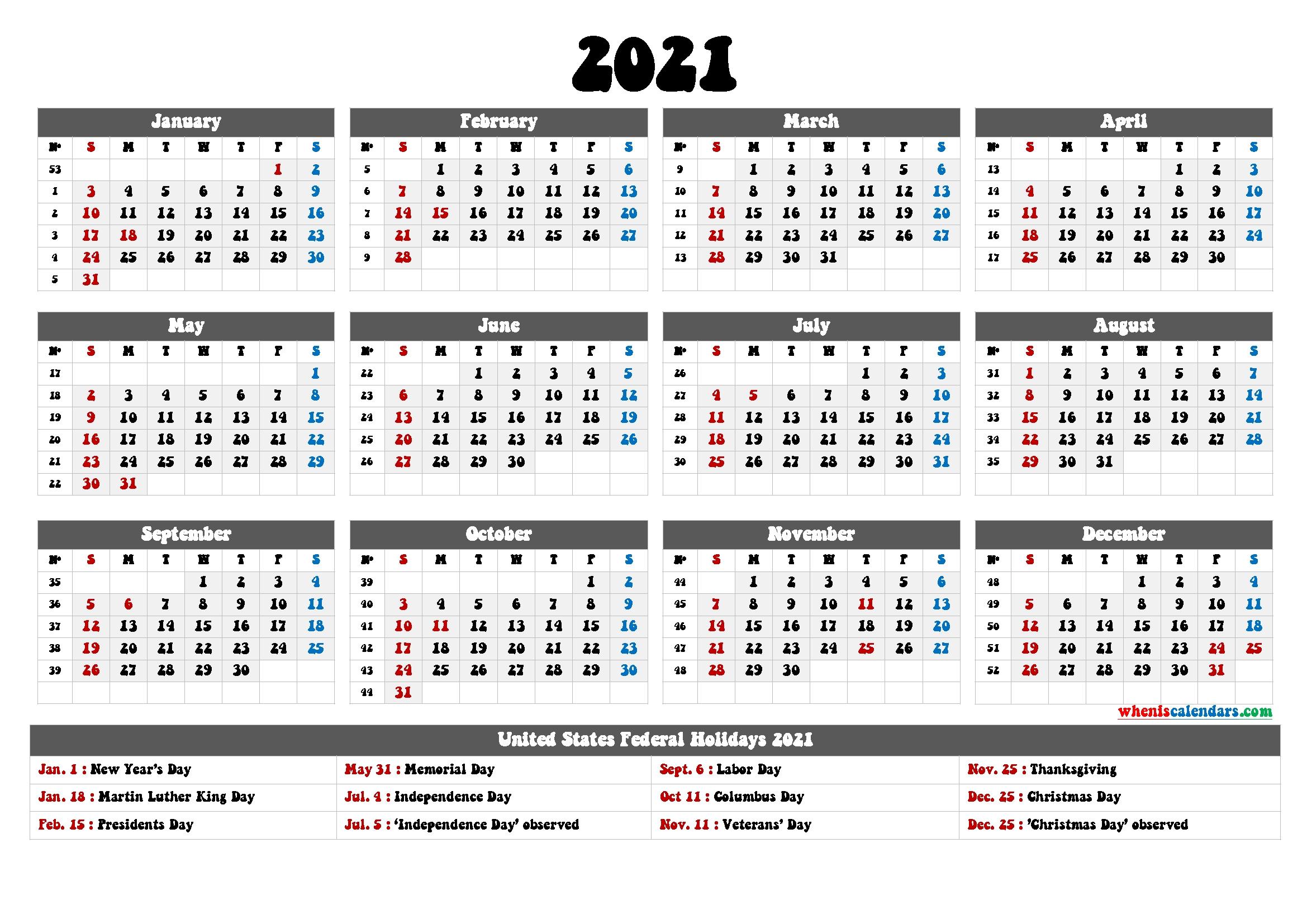 Free Printable Caldendars 2021 - 12 Templates with Printable Largebox Grid Calendar 2021