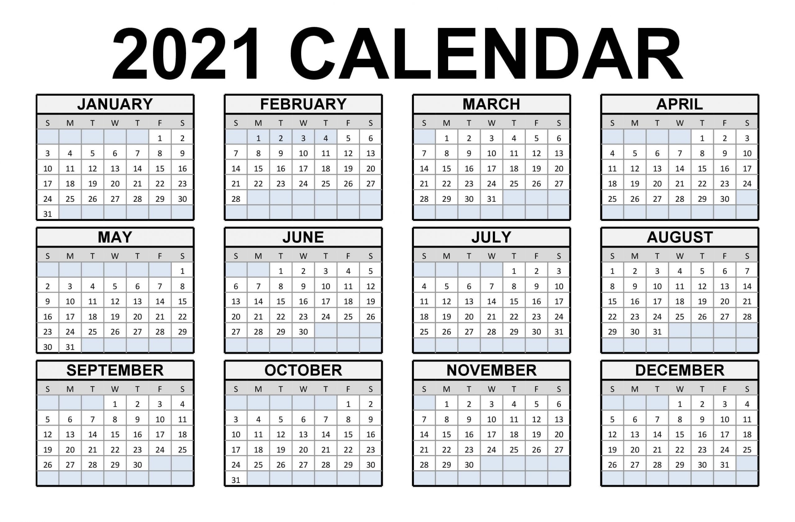Free Printable Calendar 2021 In Pdf Word Excel Template within 2021 Calendar Printable One Page