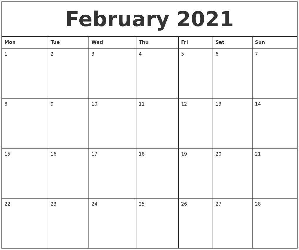 Free Printable Calendar 2021 Monthly | 2021 Printable Calendars within 2021 Weekly Calendars Printable Free