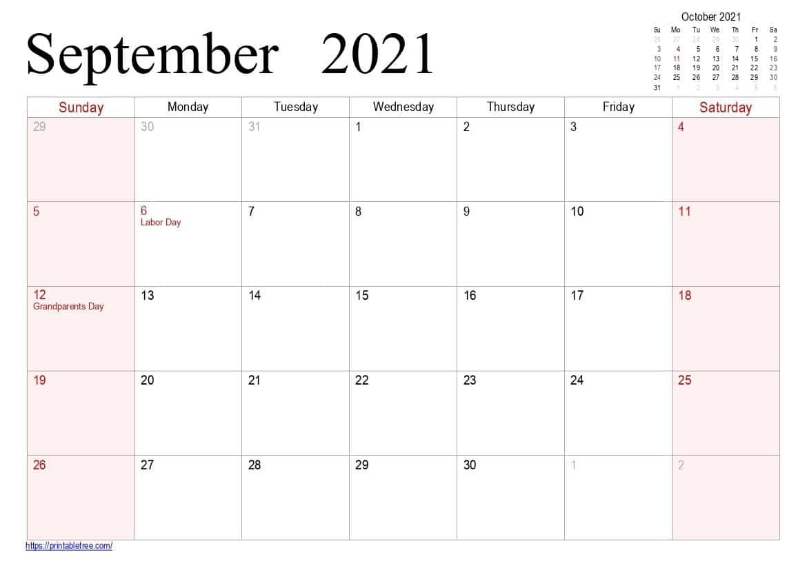Free Printable Calendar September 2021 Pdf Templates throughout Excel September 2021 Monthly Planner Template Graphics