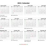 One Page 2021 Calendar Printable Images Graphics