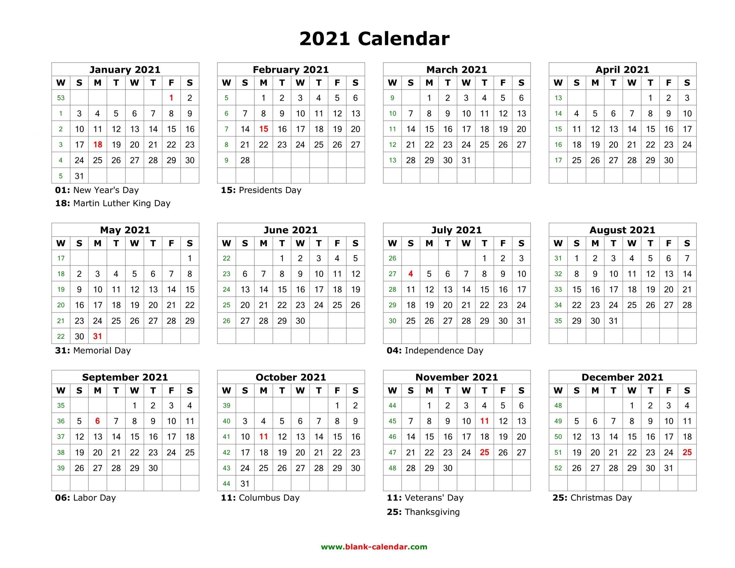 Free Printable Calendar Year 2021 | Calendar Printables Free Templates pertaining to One Page 2021 Calendar Printable Images