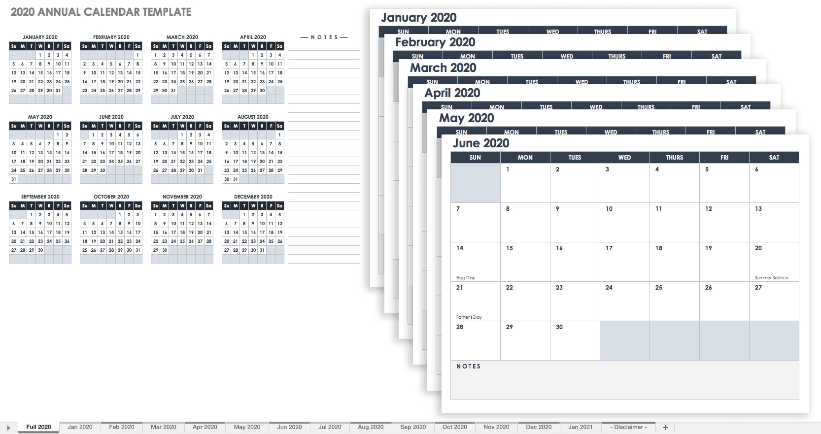 Free, Printable Excel Calendar Templates For 2019 & On | Smartsheet pertaining to Sample One Page Multi Year Calendars Image