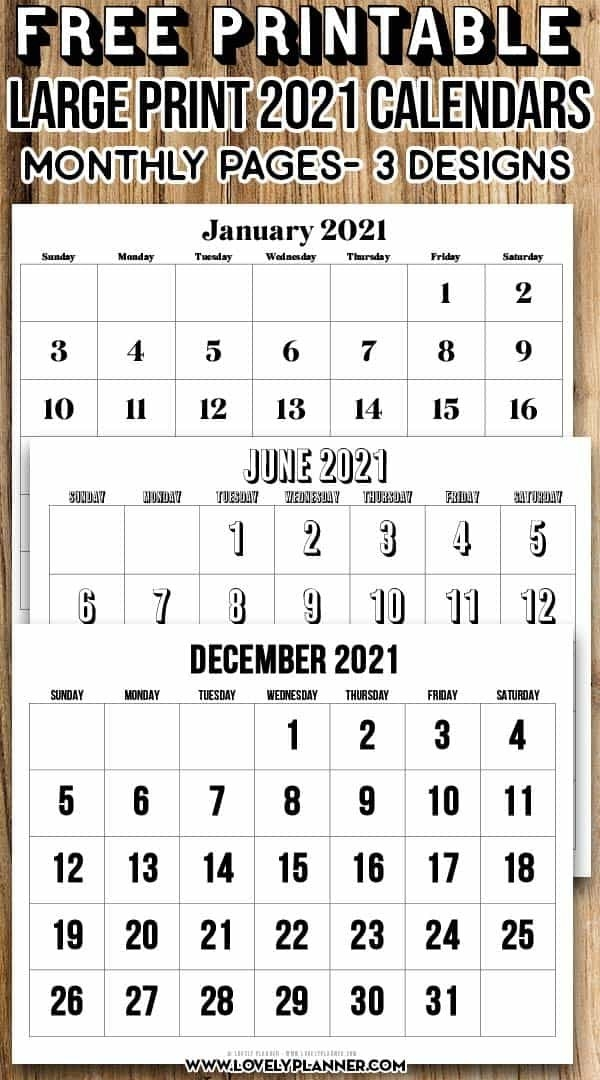 Free Printable Large Print 2021 Calendar 12 Month - Calendar Template 2021 pertaining to Two Year Calendar Template 2021 2021 Image