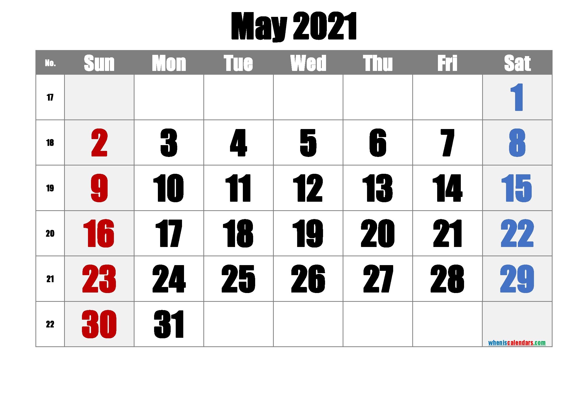 Free Printable May 2021 Calendar (Premium) In 2020   Printable Calendar Template, Calendar in 2021 Calendar With Numbered Days