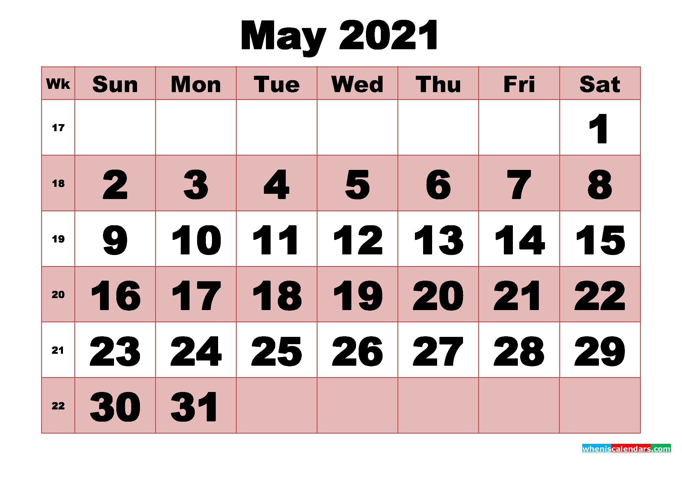 Free Printable Monthly Calendar May 2021   Free Printable 2020 Monthly Calendar With Holidays intended for Print Calendar 2021 Monthly Free Photo