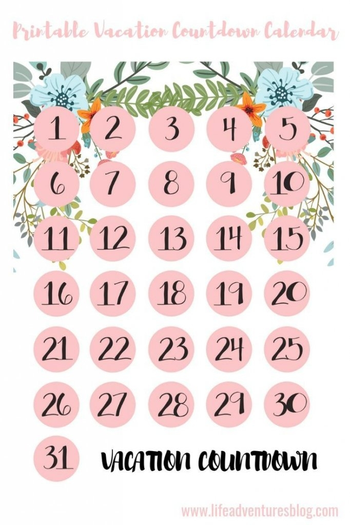 Free Printable Vacation Countdown Calendar - Calendar Template 2020 for 6 Week Countdown Calendar Photo