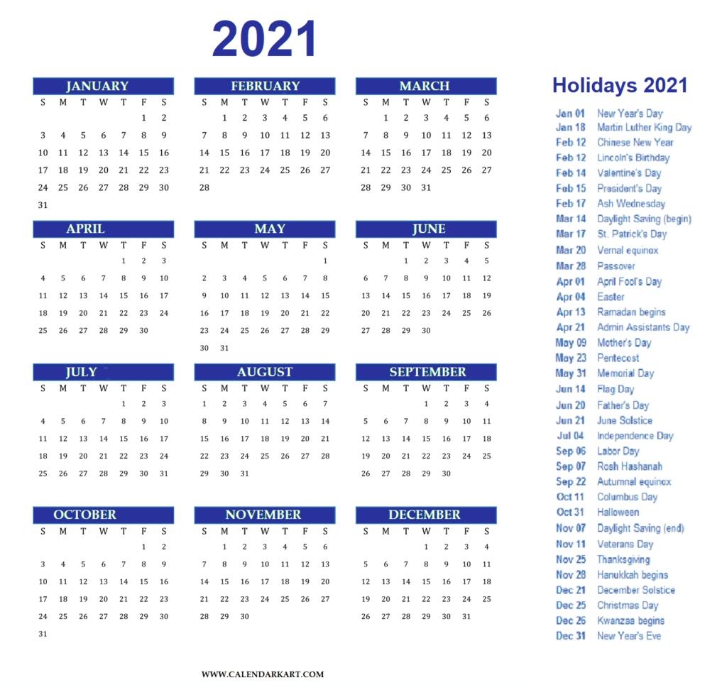 Free Printable Year At A Glance Calendar 2021 - Calendarkart regarding Large Print Free Printable Calendar 2021