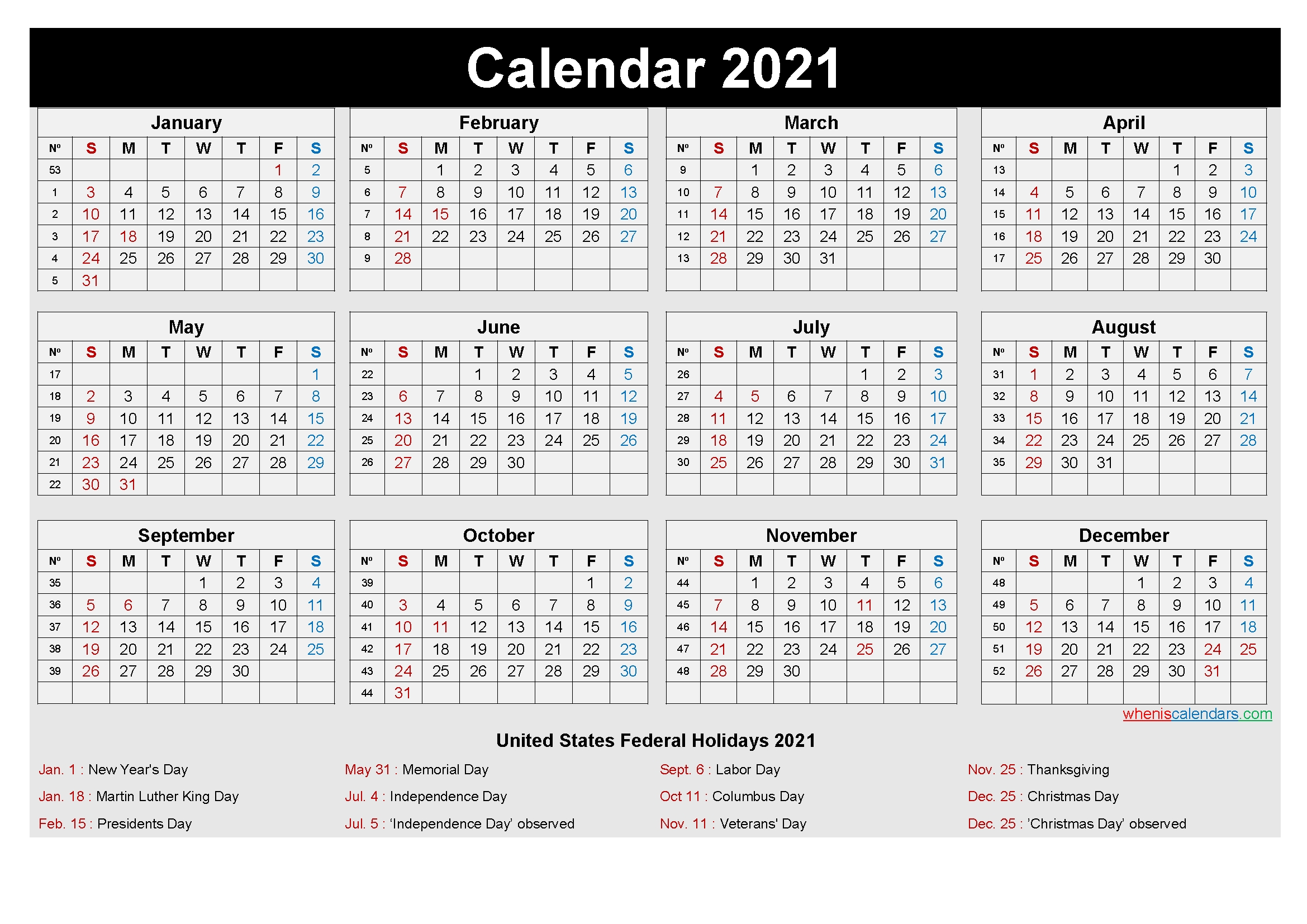 Free Printable Yearly 2021 Calendar With Holidays As Word, Pdf with regard to 2021 Calendar Printable Free Image