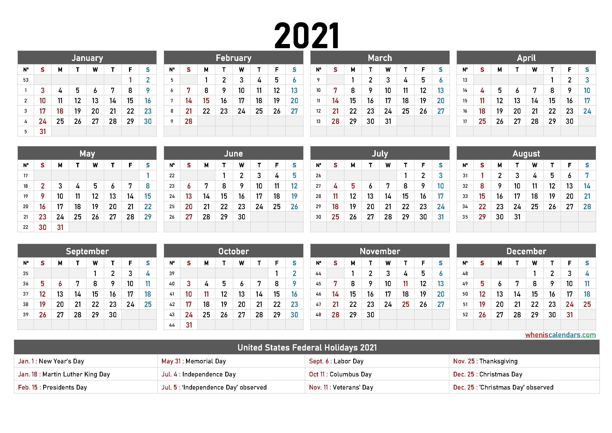 Free Printable Yearly Calendar 2021 And 2022 And Further - Free Printable 2021 Monthly Calendar for 2021 Calendar Printable Free