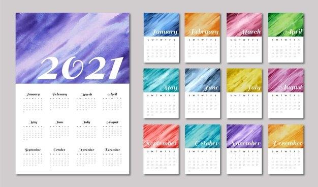 Free Vector   Illustrated 2021 Calendar Template in 2021 Myanmar Calendar Psd Free