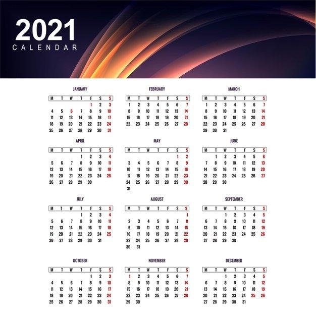Free Vector   Modern Calendar 2021 Template Design in Calendar 2021 Design In Illustrator Photo
