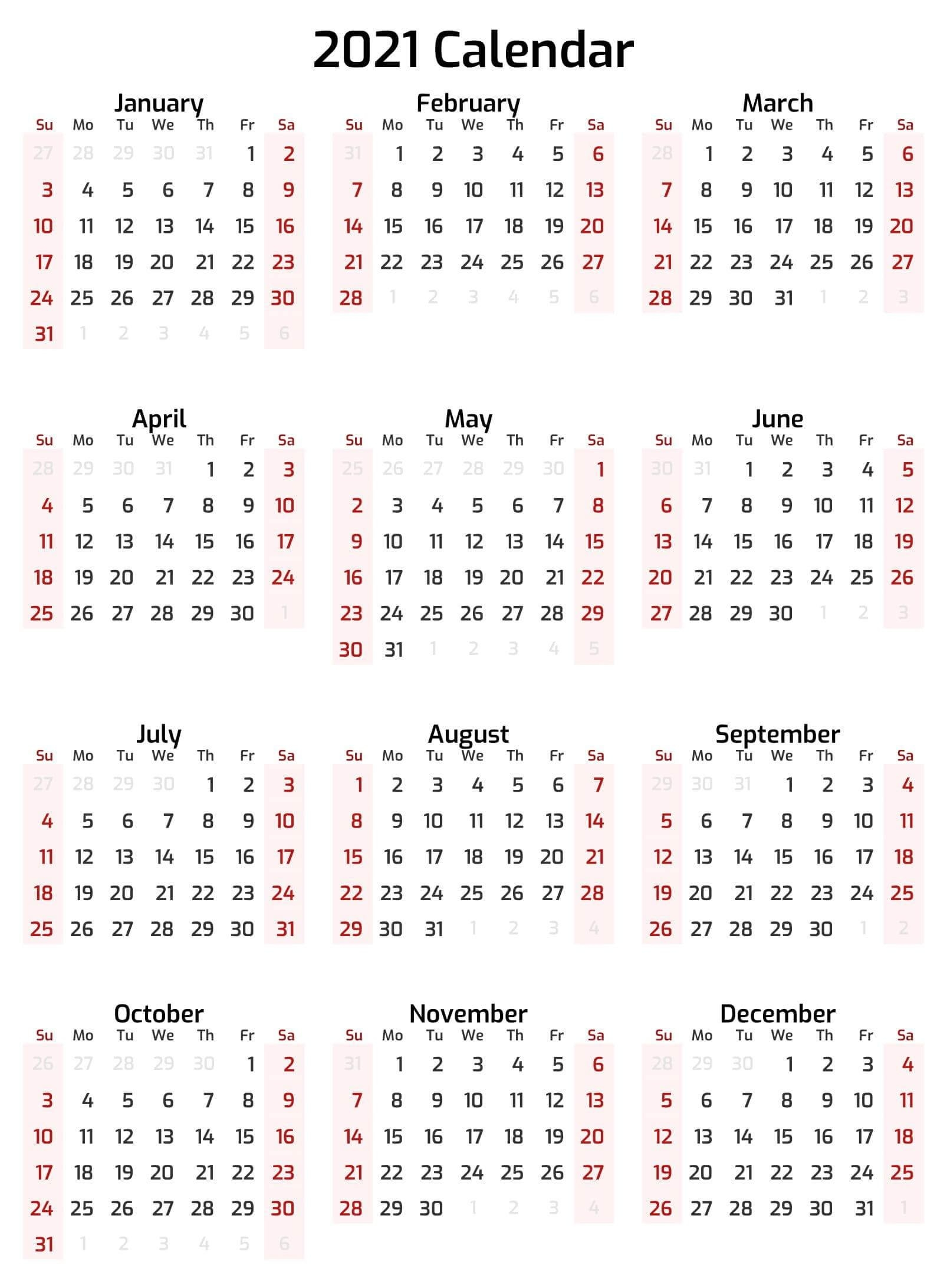 Full Year Printable Calendar 2021 With Notes   Free Printable Calendar Shop pertaining to Calendar 2019 2021 2021 Printable Free
