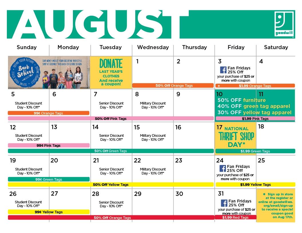 Goodwill Sales Calendar 2021   Printable March inside Ucsb Academic Calendar 2021 Photo