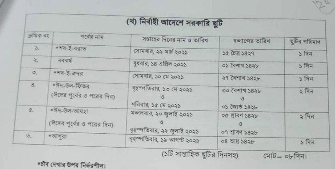 Govt Holiday 2021 Bangladesh Government Calendar Bd pertaining to Bangladesh 2021 Government Calendar