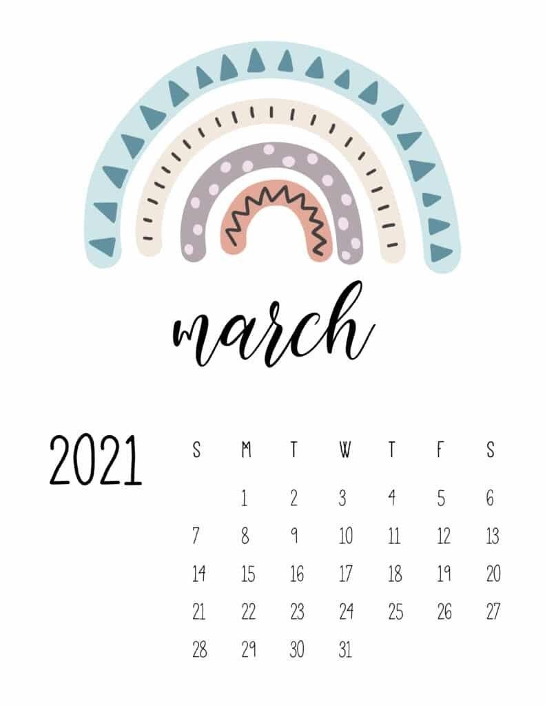 Happy Rainbows 2021 Calendar - World Of Printables regarding Which Calendar Year Match 2021 Graphics