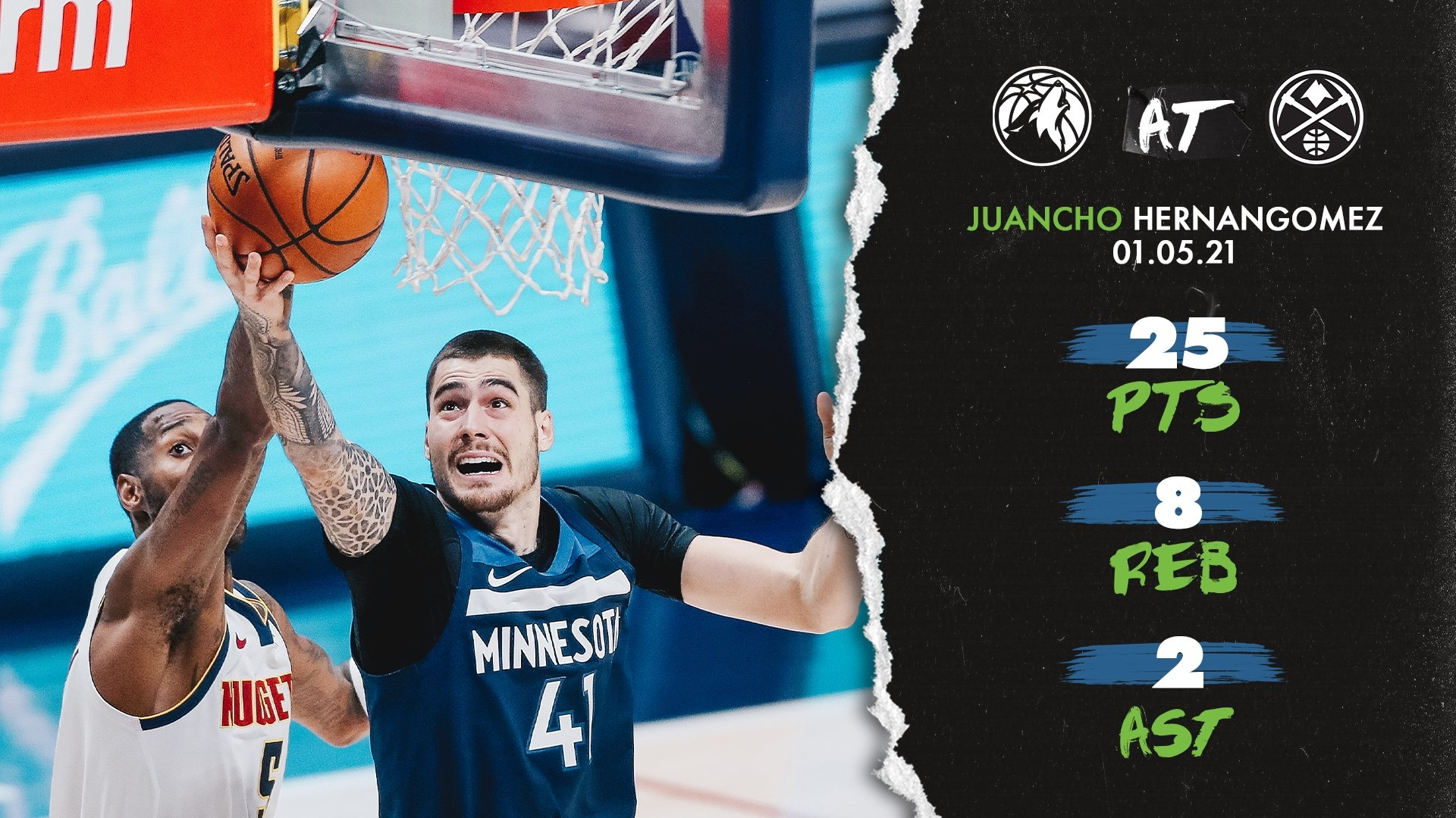 Highlights | Juancho Hernangómez (25 Pts., 8 Reb.) Vs. Nuggets - January 5, 2021 | Minnesota with 2021 Media Broadcast Calendar Printable