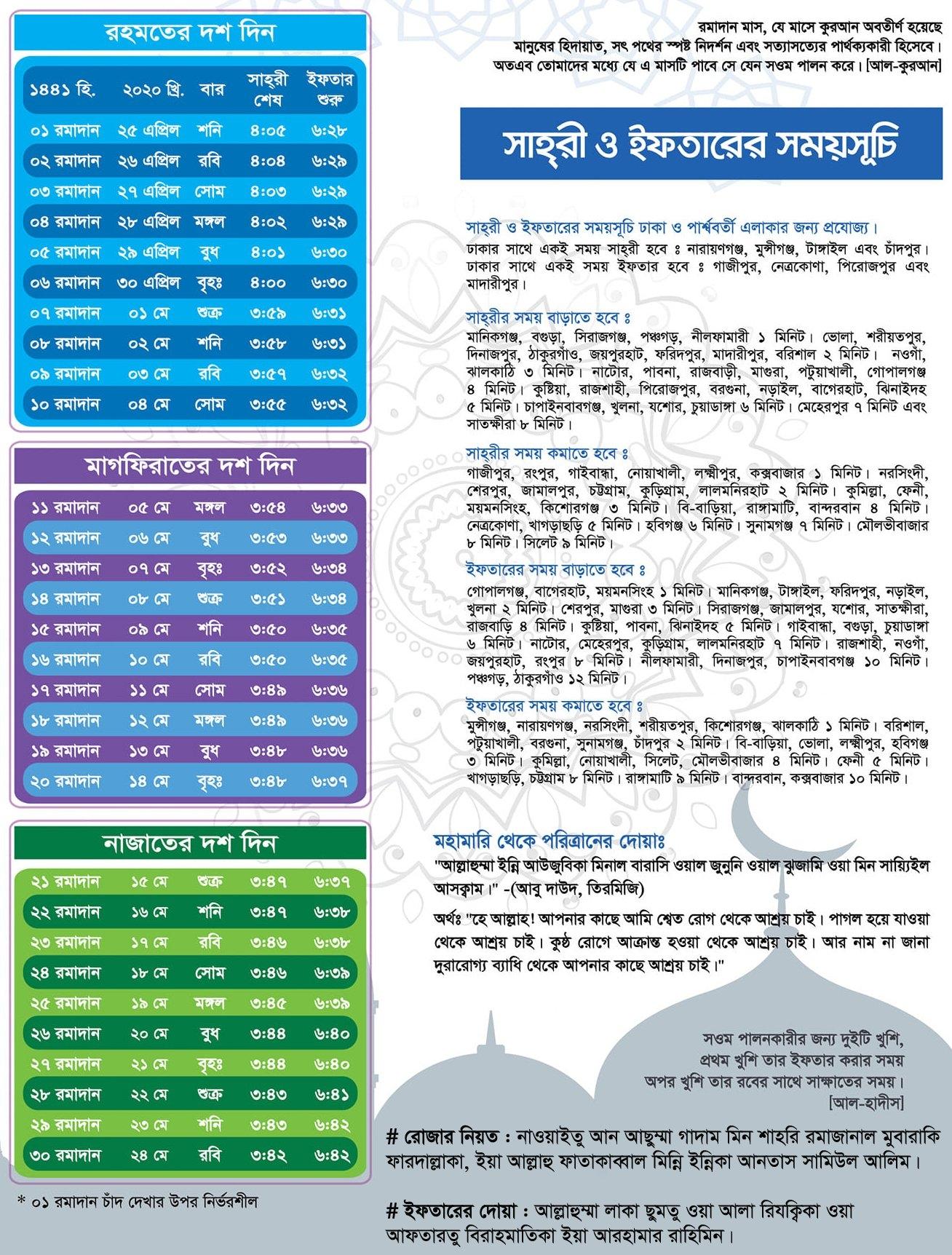 Iftar-Sehri Time-2020 In Bangladesh - Edu Daily for Bangladesh Government Calendar 2021 Photo