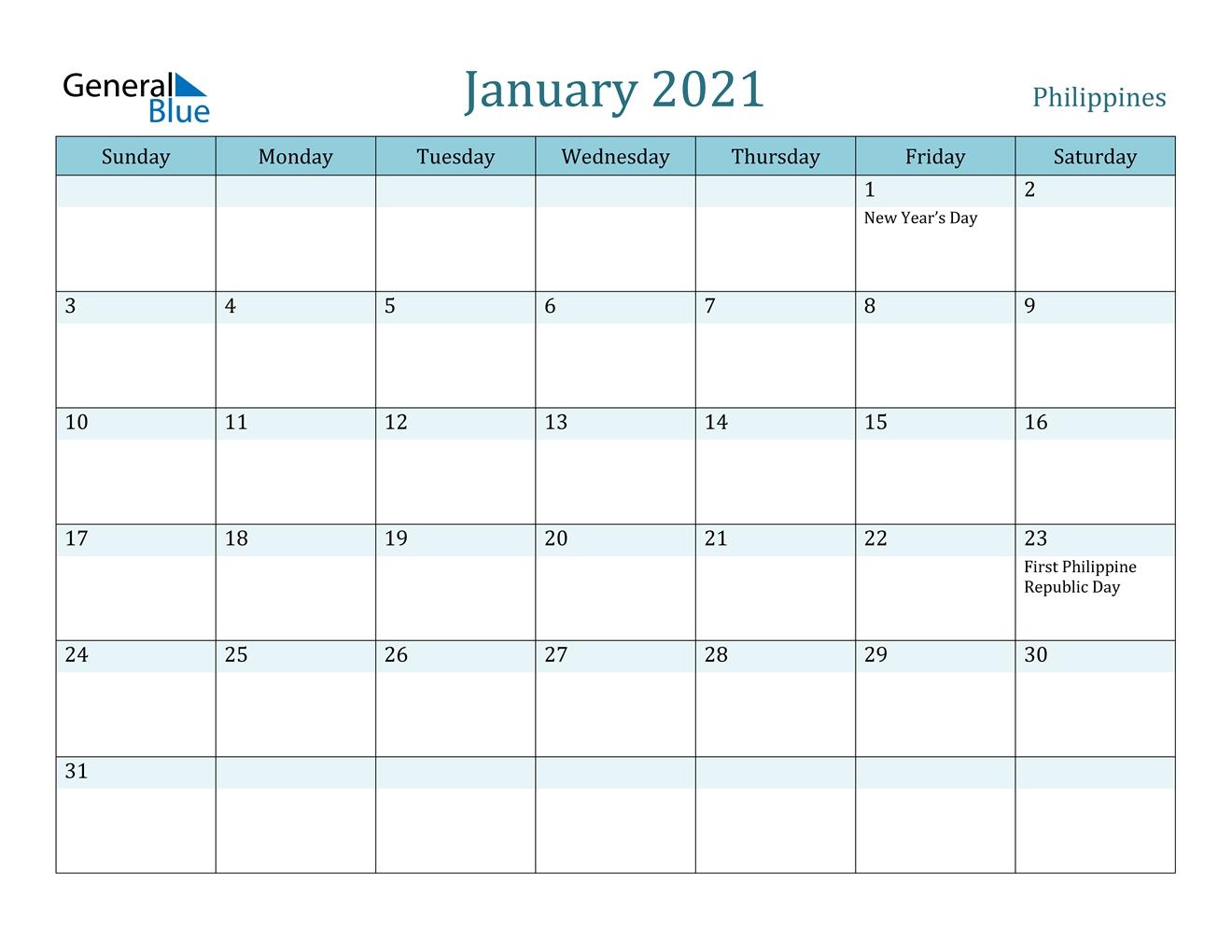 January 2021 Calendar - Philippines inside 2021 Calendar Philippine Holidays Photo