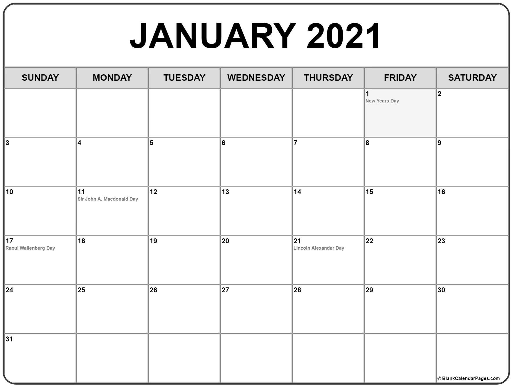 January 2021 Calendar With Holidays throughout 2021 Monthly Calendar With Holidays Printable Pdf Photo