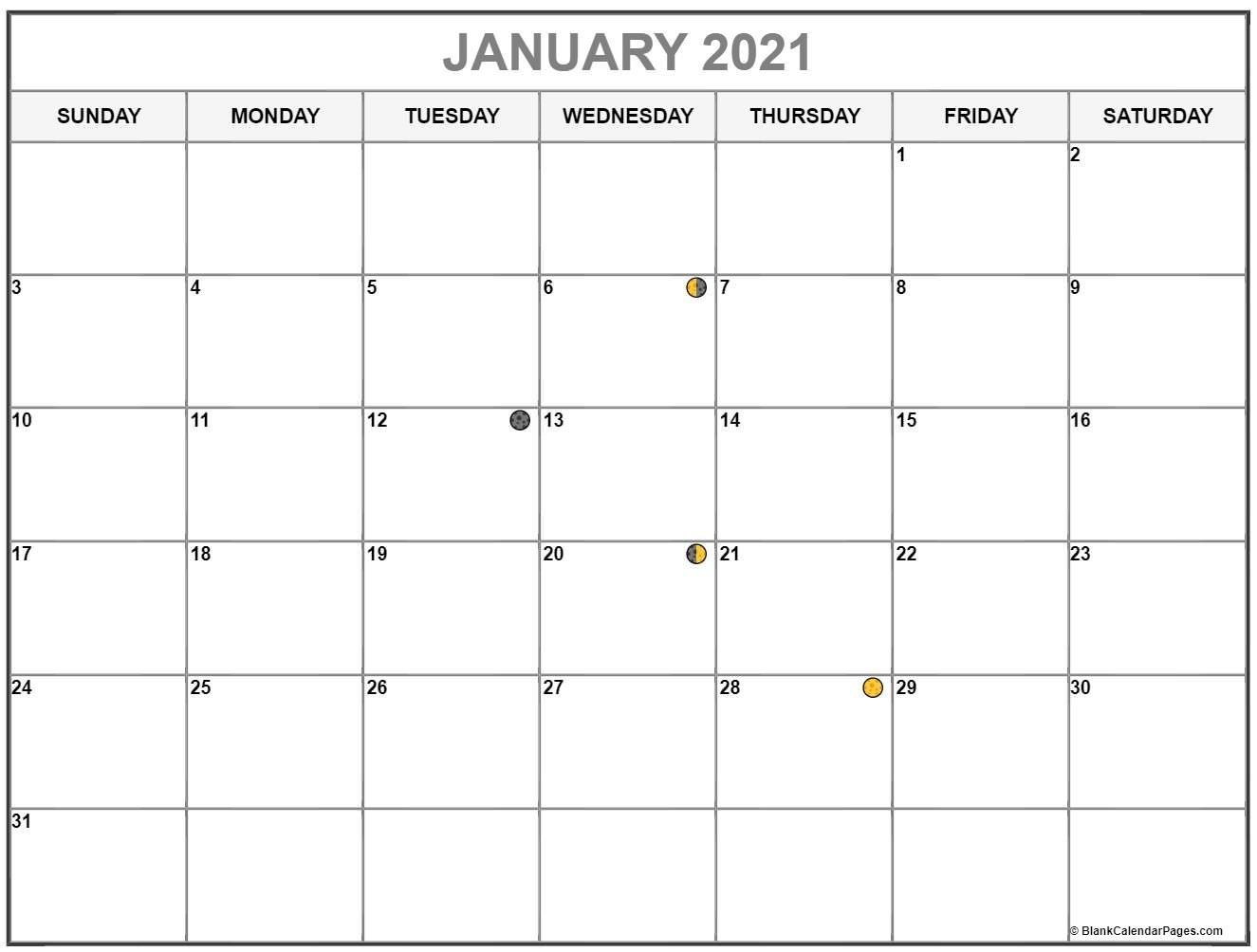 January 2021 Lunar Calendar | Moon Phase Calendar intended for 2021 Calendar With Moon Phase