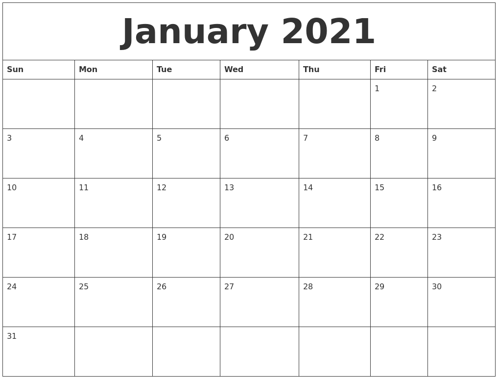January 2021 Monthly Printable Calendar for 2021 Monthly Calendar With Holidays Printable Pdf Photo