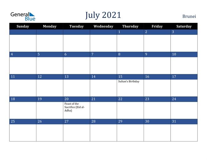 July 2021 Calendar - Brunei intended for Calendar 2021 Brunei For Print