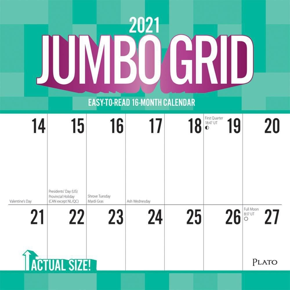 Jumbo Grid Large Print 2021 12 X 12 Inch Monthly Square Wall Calendar With Foil Stamped Cover inside Large Print Free Printable Calendar 2021