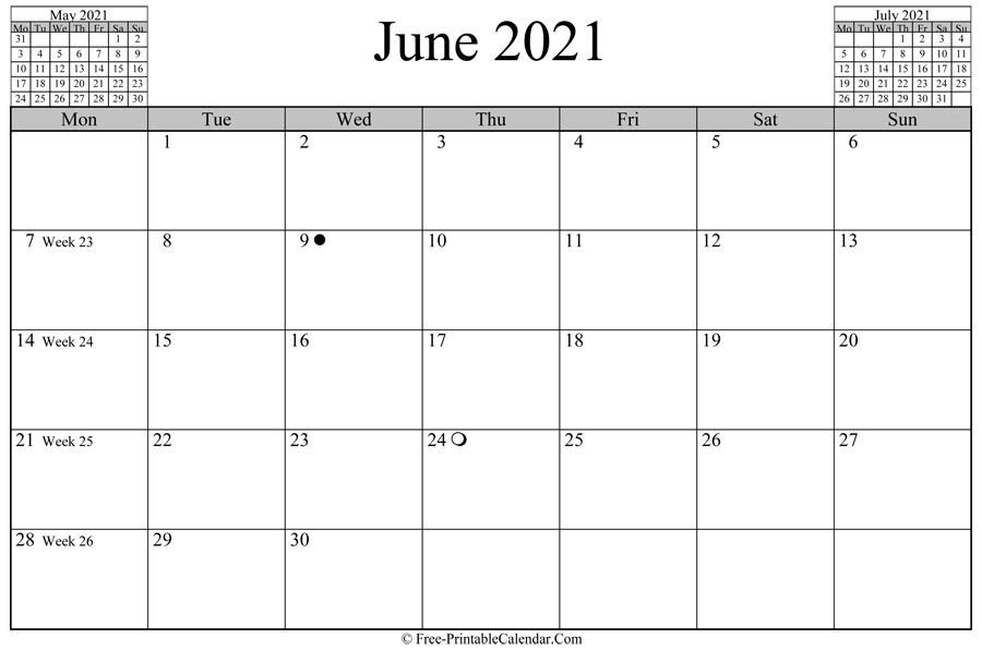 June 2021 Calendar (Horizontal Layout) pertaining to June Editable Calendar 2021