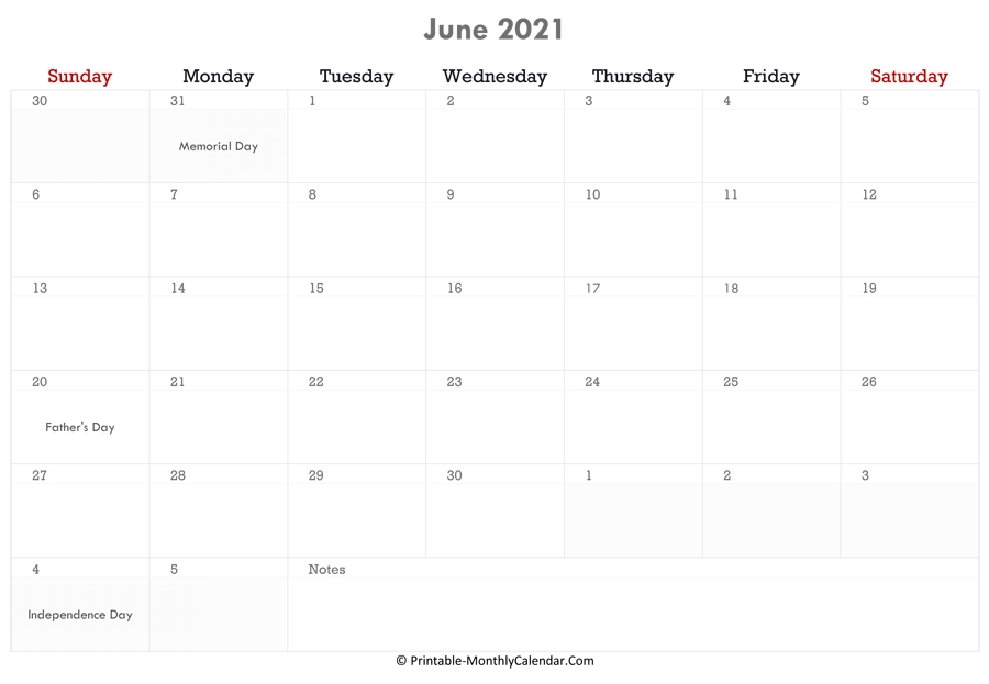 June 2021 Calendar Printable With Holidays with Father'S Day 2021 Canada Photo