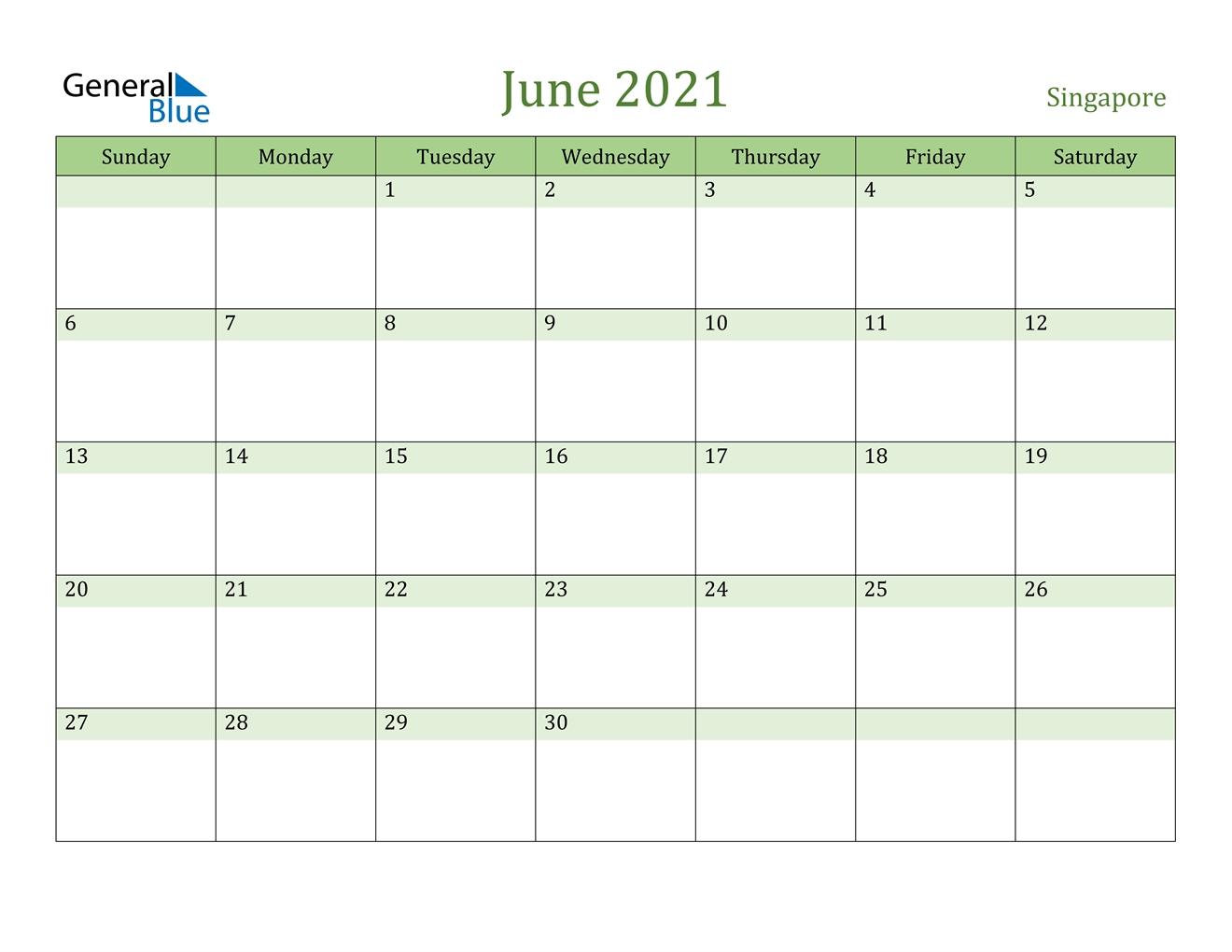 June 2021 Calendar - Singapore for Printable Calendar 2021 Singapore Photo